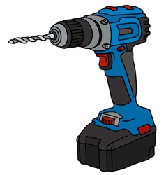 Blue cordless drill vector image