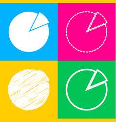 finance graph sign four styles of icon on four vector image