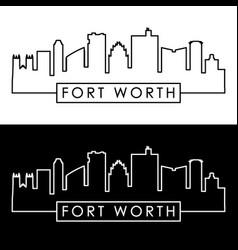 fort worth skyline linear style editable file vector image