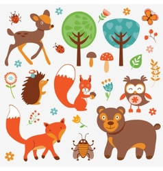 Funny forest animals collection vector