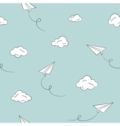 Paper plane seamless background vector image vector image