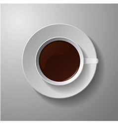 realistic classic white cup with coffee vector image vector image