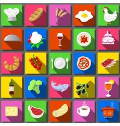 Twenty Five Square Flat Icon Italian Food vector image vector image