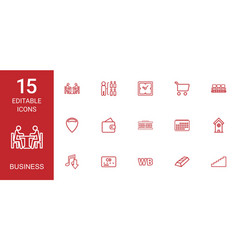 15 business icons vector image
