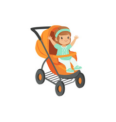 Adorable little girl sitting in an orange baby vector