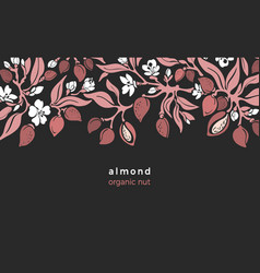 Almond border floral bio food vector