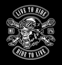 Animal moto rider vintage label vector