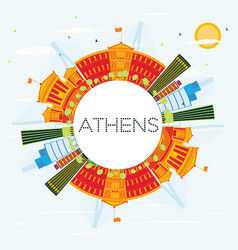 athens skyline with color buildings blue sky and vector image