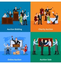 Auction People 4 Flat Icons vector