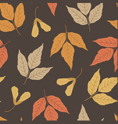 Autumn seamless pattern with maple leaves vector