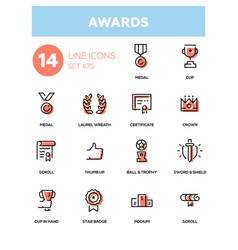 Awards - line design icons set vector