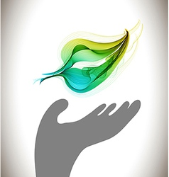 Background with ecological environment icon - hand vector
