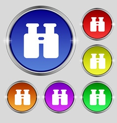 Binocular search find information icon sign round vector