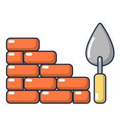 brick wall icon cartoon style vector image