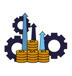 business coins money arrows profit and gears vector image