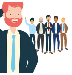 Businessman and team people collegues vector