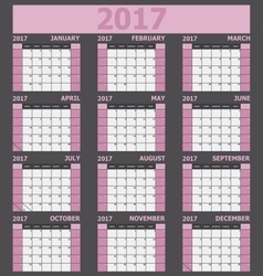 Calendar 2017 week starts on Sunday light pink vector