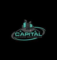 capital cleaning service logo vector image