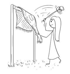 Cartoon drawing of woman beating rug or carpet vector