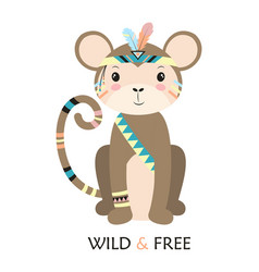 Cartoon monkey tribal vector
