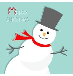 Cartoon snowman in the corner blue background vector