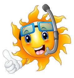 cartoon sun character in diving mask giving thumbs vector image