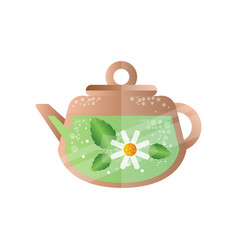 chamomile tea in teapot spa design element vector image