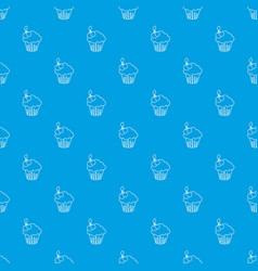 cherry cupcake pattern seamless blue vector image