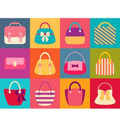 Collection of Retro Woman Bags vector