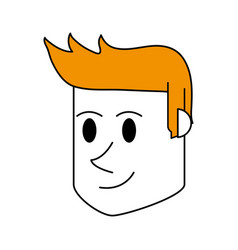Color silhouette cartoon side view face guy with vector