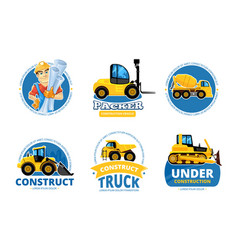 construct machines logo heavy machinery vehicles vector image