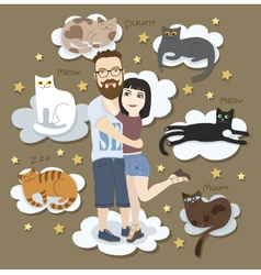 Couple in love with cats vector image vector image