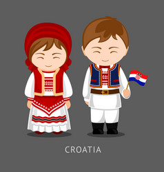 croats in national dress with a flag vector image