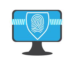 Fingerprints on a computer screen cyber security vector