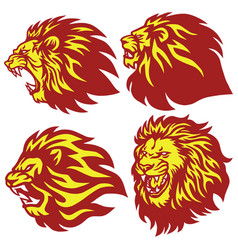 Fire lion head esport logo set premium vector