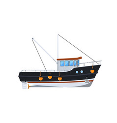 Fishing boat isolated on white icon vector