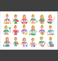 Flat set of housewife icons woman doing vector