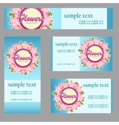 Four cards with floral disign for business needs vector