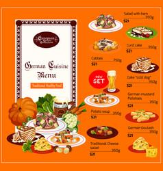 German cuisine menu food and drinks vector