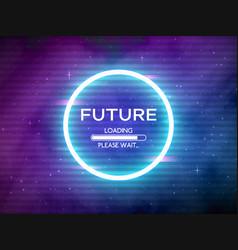 glitch retro future glowing neon circle round vector image