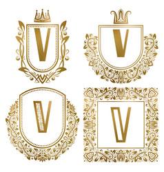 golden vintage monograms set heraldic logos v vector image