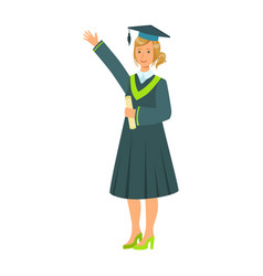 graduate girl student in mantle holding diploma vector image