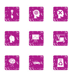 Graph on the rise icons set grunge style vector