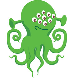 Green alien with many eyes and tentacles vector