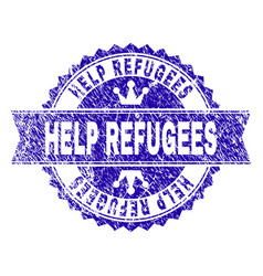 Grunge textured help refugees stamp seal with vector