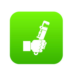hacksaw in man hand icon digital green vector image