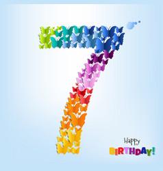 Happy birthday seven years postcard vector