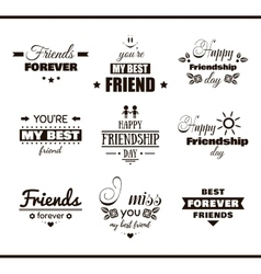 Happy Friendship Day Set Labels vector image