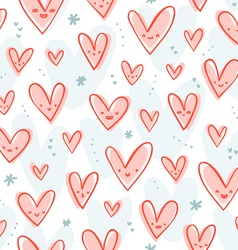 Happy pink hearts pattern vector