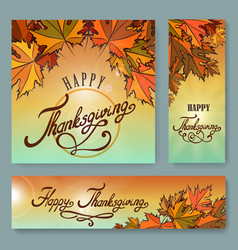 Happy thanksgiving day background set vector
